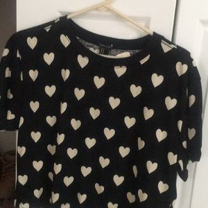 Black and White Heart Boxy Crop Top